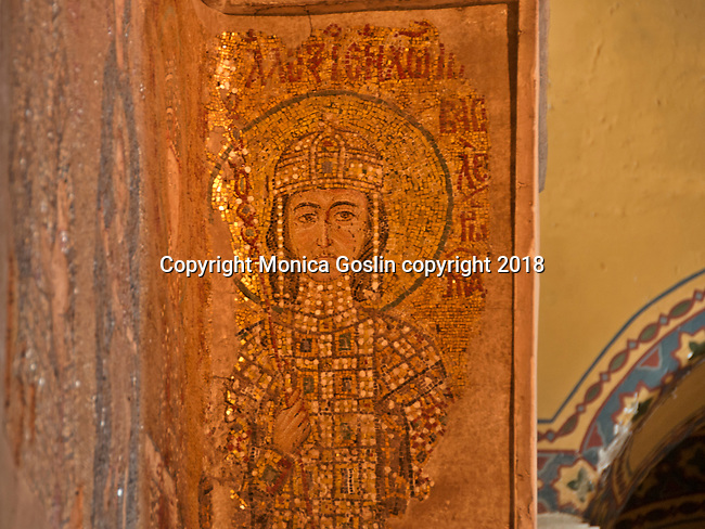Detail of the 11th century Empress Zoe mosaic in the Hagia Sophia, on the eastern wall of the southern gallery