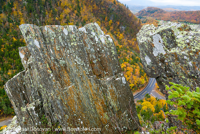 Dixville Notch - Route 26 in Dixville, New Hampshire USA during the autumn months