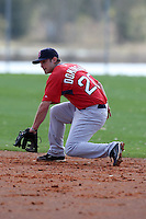 March 18, 2010:  Second Baseman Drew Dominguez of the Boston Red Sox organization during Spring Training at Ft.  Myers Training Complex in Fort Myers, FL.  Photo By Mike Janes/Four Seam Images
