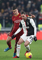 Calcio, Coppa Italia round 8 : Juventus - AS Roma, Turin, Allianz Stadium, January 22, 2020.<br /> Juventus' Adrien Rabiot (r) in action with Roma's Gianluca Mancini (l) during the Italian Cup football match between Juventus and Roma at the Allianz stadium in Turin, January 22, 2020.<br /> UPDATE IMAGES PRESS/Isabella Bonotto