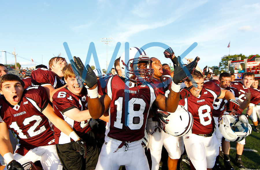 Jabrill Peppers #18 and the rest of the Don Bosco football team celebrate after their win against St Ignatius during the game at Harding Stadium in Steubenville, OH on September 25, 2010. ..Jared Wickerham.