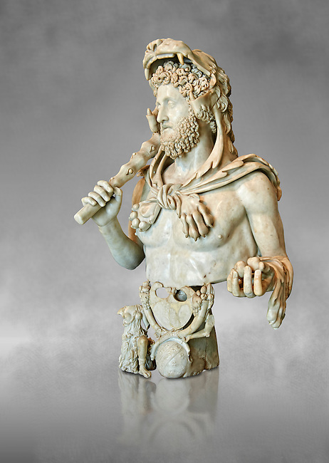 Roman marble bust of Commodus as Hercules. Circa191-192 AD found in an underground chamber in the Horti Lamiani area of Rome. The son of Marcus Aurelus is shown with the features of Hercules and is characterised by Greek hero's attributes: the lion's skin, the club, the apples of Hesperides. The character is accompanied by fantastic sea creatures in a composition symbolising his apotheosis. The work can be dated to the final period of the life of Commodus, between 191-192 AD. Commodus was one of Rome's bad crazy Emperors being sadistic and debauched with a harem of 300 concubines to choose from. His favourite role playing character was that of Hercules and Commodus ordered many statues to be made showing him dressed as Hercules with a lion's hide and a club. He thought of himself as the reincarnation of Hercules, frequently emulating the legendary hero's feats by appearing in the arena to fight a variety of wild animals. Commodus raised the ire of many military officials in Rome for his Hercules persona in the arena. Often, wounded soldiers and amputees would be placed in the arena for Commodus to slay with a sword. Commodus's eccentric behaviour would not stop there. Citizens of Rome missing their feet through accident or illness were taken to the arena, where they were tethered together for Commodus to club to death while pretending they were giants.[17] These acts may have contributed to his assassination. Such ruthless antics probably led to the violent death of Commodus when a wrestler assassinated him by strangling him to death.. MC.1120 Capitoline Museums, Rome