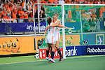 The Hague, Netherlands, June 07: Kim Lammers #23 of The Netherlands celebrates with Kelly Jonker #10 of The Netherlands after scoring during the field hockey group match (Group A) between Australia and The Netherlands on June 7, 2014 during the World Cup 2014 at Kyocera Stadium in The Hague, Netherlands. Final score 0-0 (0-2) (Photo by Dirk Markgraf / www.265-images.com) *** Local caption ***