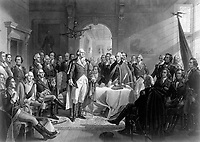 Washington and his Generals.  Copy of print by A. H. Ritchie, ca. 1870. (George Washington Bicentennial Commission)<br />Exact Date Shot Unknown<br />NARA FILE #:  148-GW-594<br />WAR & CONFLICT #:  27