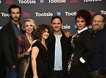 """John Behlmann, Julie Halston, Sarah Stiles, Santino Fontana, Lilli Cooper, Andy Grotelueschen attend the Cast Meet & Greet for Broadway's """"Tootsie"""" The Musical at the New York Mariott Marquis Hotel on March 13, 2019 in New York City."""