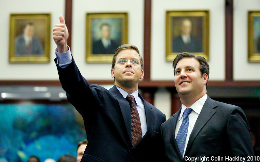 TALLAHASSEE, FLA. 4/30/10-BUDGET 43010 CH01-Rep. Carlos Lopez-Cantera, R-Miami, left, is joined by Rep. Adam Hasner, R-Delray Beach, as he urges the House to approve the 2010 budget during the final day of the legislative session at the Capitol in Tallahassee...COLIN HACKLEY PHOTO