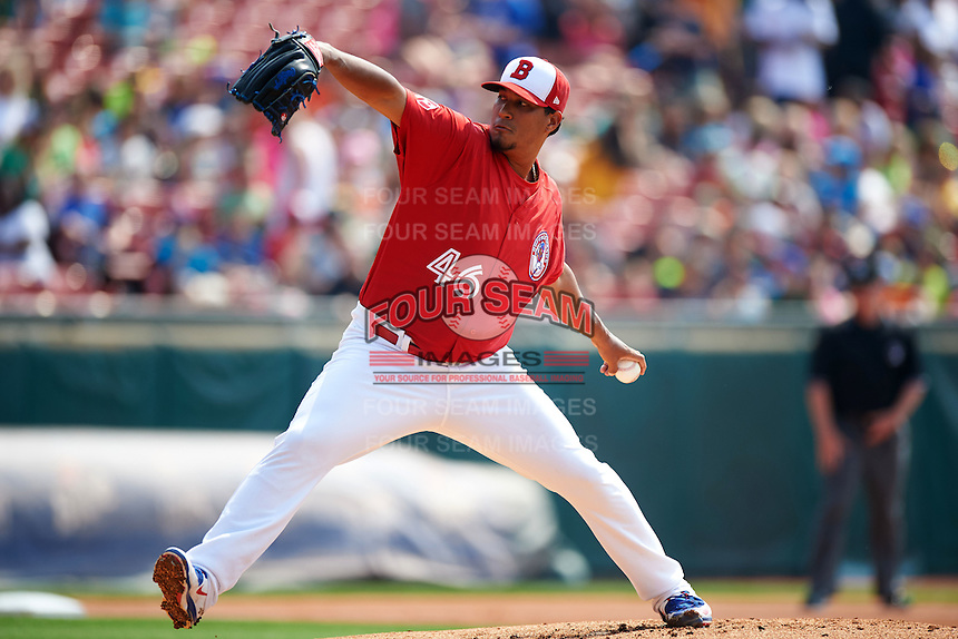 Buffalo Bisons pitcher Felix Doubront (46) delivers a pitch during a game against the Scranton/Wilkes-Barre RailRiders on June 10, 2015 at Coca-Cola Field in Buffalo, New York.  Scranton/Wilkes-Barre defeated Buffalo 7-2.  (Mike Janes/Four Seam Images)