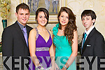 Pictured at the Gaelcholáiste Chiarraí Debs on Friday night in the Abbeygate hotel are, from left: Ryan Mahony, Nicky Sheehy, Deirdre Slattery and Tadhg Flynn.