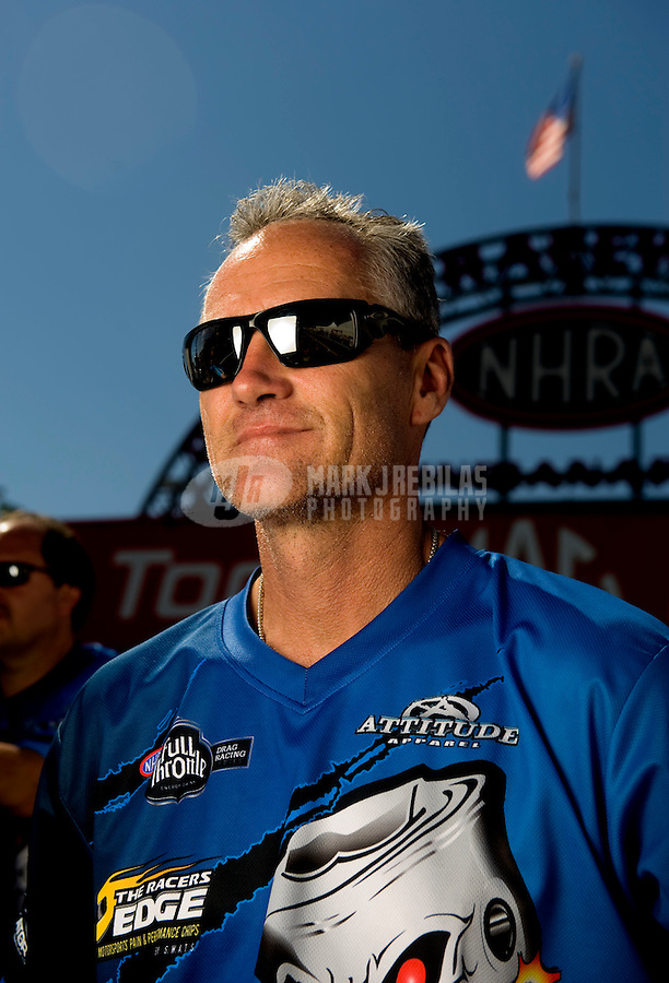 Sept. 5, 2010; Clermont, IN, USA; NHRA pro stock motorcycle rider Craig Treble during qualifying for the U.S. Nationals at O'Reilly Raceway Park at Indianapolis. Mandatory Credit: Mark J. Rebilas-