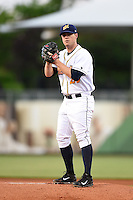 Montgomery Biscuits pitcher Jared Mortensen (29) delivers a pitch during a game against the Mississippi Braves on April 21, 2014 at Riverwalk Stadium in Montgomery, Alabama.  Montgomery defeated Mississippi 6-2.  (Mike Janes/Four Seam Images)