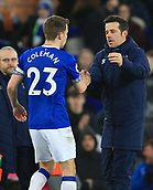 17th March 2019, Goodison Park, Liverpool, England; EPL Premier League Football, Everton versus Chelsea; Seamus Coleman of Everton shakes hands with Everton manager Marco Silva at the final whistle