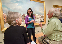 NWA Democrat-Gazette/JASON IVESTER --03/16/2015--<br /> Amanda Driver talks with Shelley Buonaiuto (cq) (left) and Michael Buonaiuto, both of Fayetteville about &quot;Winter Scene in Brooklyn&quot; by Francis Guy as part of the Creative Connections program on Monday, March 16, 2015, inside Crystal Bridges Museum of American Art in Bentonville.