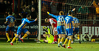 Shrewsbury Town's Nathan Thomas celebrates scoring his side's second goal <br /> <br /> Photographer Alex Dodd/CameraSport<br /> <br /> The EFL Sky Bet League One - Fleetwood Town v Shrewsbury Town - Tuesday 13th February 2018 - Highbury Stadium - Fleetwood<br /> <br /> World Copyright &copy; 2018 CameraSport. All rights reserved. 43 Linden Ave. Countesthorpe. Leicester. England. LE8 5PG - Tel: +44 (0) 116 277 4147 - admin@camerasport.com - www.camerasport.com