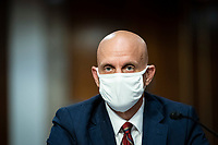Stephen Hahn, Commissioner, United States Food and Drug Administration (FDA), wears a protective covering during a Senate Health, Education, Labor and Pensions Committee hearing in Washington, D.C., U.S., on Tuesday, June 30, 2020. Top federal health officials are expected to discuss efforts to get back to work and school during the coronavirus pandemic. <br /> Credit: Al Drago / Pool via CNP /MediaPunch