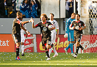 CARSON, CA - March 18,2012: DC United midfielder Nick DeLeon (18) celebrates his goal during the LA Galaxy vs DC United match at the Home Depot Center in Carson, California. Final score LA Galaxy 3, DC United 1.