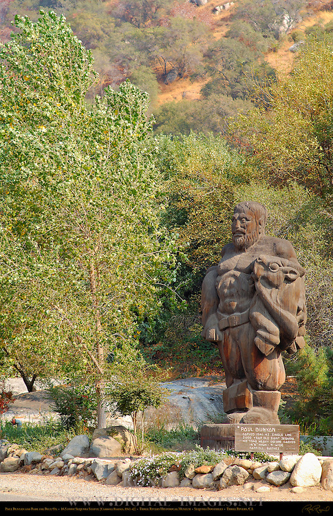 Paul Bunyan and Babe the Blue Ox in Autumn, 13 ton Single Log Sequoia Sculpture, Carroll Barnes 1941, Three Rivers, Ash Mountain, California