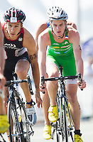 16 SEP 2012 - NICE, FRA - Jonathan Brownlee (right) of EC Sartrouville rides in the lead pack during the final stage of the French Grand Prix triathlon series held during the Triathlon de Nice Côte d'Azur (PHOTO (C) 2012 NIGEL FARROW)