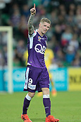 November 4th 2017, nib Stadium, Perth, Australia; A-League football, Perth Glory versus Adelaide United; Andy Keogh of the Perth Glory celebrates a second half try to put the Glory ahead 1-0