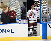 Bert Lenz (BC - Trainer), Mike Feeley (BC - Student Manager), Patrick Alber (BC - 27), Philip Samuelsson (BC - 5), Bert Lenz (BC - Trainer) - The Boston College Eagles defeated the Yale University Bulldogs 9-7 in the Northeast Regional final on Sunday, March 28, 2010, at the DCU Center in Worcester, Massachusetts.