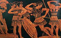 Greek Arms:  Hoplites preparing for battle.  Vase painting, 500 B.C.--Vienna.