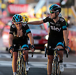 101 Tour de France 2014 - <br /> (L)  Richie Porte at the finish of stage thirteen of the cycling road race 'Tour de France' at Chamrousse, on July 18, 2014.