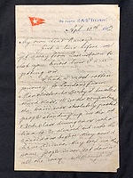 BNPS.co.uk (01202 558833)<br /> Pic: HAldridge/BNPS<br /> <br /> Letter written by William Harrison to his wife Ann complaining about the working conditions on board the Titanic is valued at £18,000<br /> <br /> Remarkable water-stained documents recovered from the body of the assistant to the most controversial person on the Titanic have been discovered 107 years later.<br /> <br /> The personal archive of valet William Harrison also includes a four page letter he wrote home to his wife moaning about his working conditions under Bruce Ismay.<br /> <br /> The managing director of Titanic's owners White Star Line was portrayed as a coward in James Cameron's epic movie when he snuck into a lifeboat rather than going down with the ship.<br /> <br /> Mr Harrison told her how he was 'fed up' with spending hours writing letters to post for Ismay.