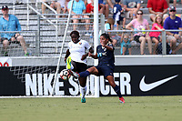 Cary, North Carolina  - Saturday July 01, 2017: Mandy Freeman and Debinha during a regular season National Women's Soccer League (NWSL) match between the North Carolina Courage and the Sky Blue FC at Sahlen's Stadium at WakeMed Soccer Park. Sky Blue FC won the game 1-0.