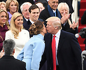 President-elect Donald J. Trump kisses his wife Melania as he arrives for his inauguration on January 20, 2017 in Washington, D.C.  Trump becomes the 45th President of the United States.       <br /> Credit: Pat Benic / Pool via CNP
