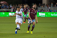 SAN JOSÉ CA - JULY 27: Cristian Espinoza #10 and Jack Price #19 during a Major League Soccer (MLS) match between the San Jose Earthquakes and the Colorado Rapids on July 27, 2019 at Avaya Stadium in San José, California.