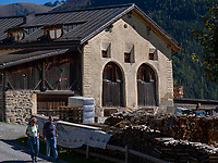 Zimmerei, Guarda bei Scuol, Unterengadin, Graubünden, Schweiz, Europa<br /> carpentry shop in Guarda, Scuol, Engadine, Grisons, Switzerland
