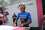 Maglia Azzurra Gianluca Brambilla (ITA) Trek-Segafredo at sign on before the start of Stage 13 of the 2019 Giro d'Italia, running 196km from Pinerolo to Ceresole Reale (Lago Serrù), Italy. 24th May 2019<br /> Picture: Gian Mattia D'Alberto/LaPresse | Cyclefile<br /> <br /> All photos usage must carry mandatory copyright credit (© Cyclefile | Gian Mattia D'Alberto/LaPresse)