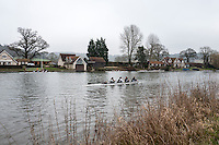 Henley. United Kingdom.  General View, as a crews marshall for the  Henley Fours &amp; Eights Henley Head,  Henley Reach, River Thames. H-O-T, England.<br /> <br /> Saturday  18/02/2017<br /> <br /> [Mandatory Credit. Peter SPURRIER/Intersport Images]