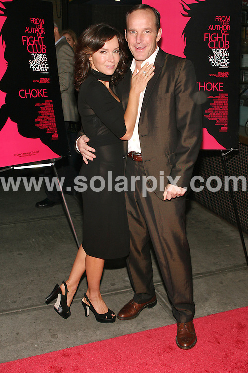"""**ALL ROUND PICTURES FROM SOLARPIX.COM**.**SYNDICATION RIGHTS FOR UK, SPAIN, PORTUGAL, AUSTRALIA, S.AFRICA & DUBAI (U.A.E) ONLY**.Arrivals at premiere of """"Choke"""" - New York City Special Screening. Landmark Sunshine Cinema, 143 Houston Street - New York City, NY, USA.This pic:  Jennifer Grey and Clark Gregg.JOB REF:   7455  PHZ / Gaboury   DATE: 24.09.08.**MUST CREDIT SOLARPIX.COM OR DOUBLE FEE WILL BE CHARGED* *UNDER NO CIRCUMSTANCES IS THIS IMAGE TO BE REPRODUCED FOR ANY ONLINE EDITION WITHOUT PRIOR PERMISSION*"""