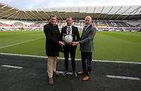 Lee Trundle (C) with match ball sponsors before the Barclays Premier League match between Swansea City and Bournemouth at the Liberty Stadium, Swansea on November 21 2015
