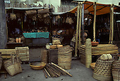 Belem, Brazil. Market stall selling baskets, gourds, palm stakes and mats. Para State, Amazon.