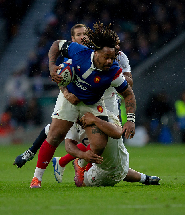 France's Mathieu Bastareaud in action during todays match<br /> <br /> Photographer Bob Bradford/CameraSport<br /> <br /> Guinness Six Nations Championship - England v France - Sunday 10th February 2019 - Twickenham Stadium - London<br /> <br /> World Copyright &copy; 2019 CameraSport. All rights reserved. 43 Linden Ave. Countesthorpe. Leicester. England. LE8 5PG - Tel: +44 (0) 116 277 4147 - admin@camerasport.com - www.camerasport.com