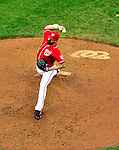 24 April 2010: Washington Nationals' pitcher Brian Bruney on the mound against the Los Angeles Dodgers at Nationals Park in Washington, DC. The Dodgers edged out the Nationals 4-3 in a thirteen inning game. Mandatory Credit: Ed Wolfstein Photo
