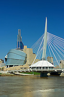 Canadian Museum for Human Rights (CMHR) and the Esplanade Riel Bridge over the Red River<br /> Winnipeg<br /> Manitoba<br /> Canada
