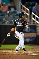 Aberdeen IronBirds third baseman Jean Carmona (37) hits a single and drives in a run during a game against the Staten Island Yankees on August 23, 2018 at Leidos Field at Ripken Stadium in Aberdeen, Maryland.  Aberdeen defeated Staten Island 6-2.  (Mike Janes/Four Seam Images)