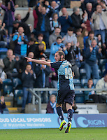 Michael Harriman of Wycombe Wanderers celebrates scoring the winning goal during the Sky Bet League 2 match between Wycombe Wanderers and Hartlepool United at Adams Park, High Wycombe, England on 5 September 2015. Photo by Andy Rowland.