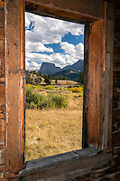 Window view, derelict homestead, Square Top Mountain, Wind River Mountains Wyoming