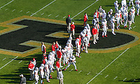 The Ohio State Buckeyes warm up prior to the NCAA football game against Purdue at Ross-Ade Stadium in West Lafayette, Ind. on Nov. 2, 2013. (Adam Cairns / The Columbus Dispatch)
