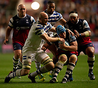 Bristol Bears' Jordan Crane is tackled by Bath Rugby's Matt Garvey<br /> <br /> Photographer Bob Bradford/CameraSport<br /> <br /> Gallagher Premiership - Bristol Bears v Bath Rugby - Friday August 31st 2018 - Ashton Gate - Bristol<br /> <br /> World Copyright © 2018 CameraSport. All rights reserved. 43 Linden Ave. Countesthorpe. Leicester. England. LE8 5PG - Tel: +44 (0) 116 277 4147 - admin@camerasport.com - www.camerasport.com