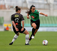3rd November 2019; Aviva Stadium, Dublin, Leinster, Ireland; FAI Cup Womens Final Football, Peamount United versus Wexford Youth Womens Football Club; Niamh Farrelly (Peamount United) goes past Ciara Rossiter (Wexford Youths)  - Editorial Use