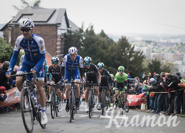 Dan Martin (IRE/Quickstep Floors) &amp; Michal Kwiatkowski (POL/SKY) side-by-side up the infamous Mur de Huy<br /> <br /> 81st La Fl&egrave;che Wallonne (1.UWT)<br /> One Day Race: Binche &rsaquo; Huy (200.5km)