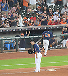 Norichika Aoki (Astros),<br /> JUNE 11, 2017 - MLB :<br /> Norichika Aoki of the Houston Astros tips his helmet to the crowd at first base after hitting a single for his 2000th career hit in the sixth inning during the Major League Baseball game against the Los Angeles Angels of Anaheim at Minute Maid Park in Houston, Texas, United States. (Photo by AFLO)