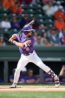 Left fielder Sam Hall (5) of the Clemson Tigers bats in the Reedy River Rivalry game against the South Carolina Gamecocks on Saturday, March 2, 2019, at Fluor Field at the West End in Greenville, South Carolina. Clemson won, 11-5. (Tom Priddy/Four Seam Images)