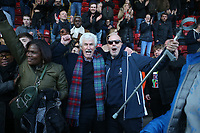 Maldon fans celebrate victory during Leyton Orient vs Maldon & Tiptree, Emirates FA Cup Football at The Breyer Group Stadium on 10th November 2019