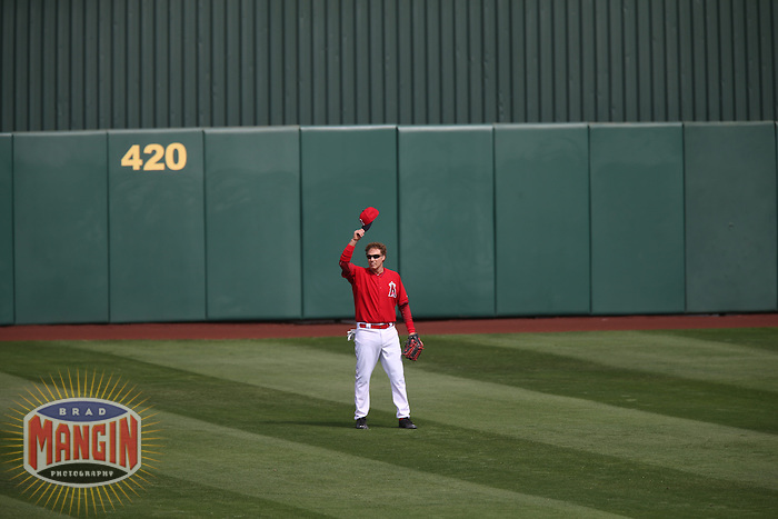 TEMPE, AZ - MARCH 12:  Actor Will Ferrell of the Los Angeles Angels plays center field against the Chicago Cubs during a spring training game at Tempe Diablo Stadium on March 12, 2015 in Tempe, Arizona. (Photo by Brad Mangin)