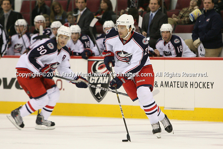 30 September 2011: Columbus' Alexandre Giroux (28). The Carolina Hurricanes lost 2-3 to the Columbus Blue Jackets at the RBC Center in Raleigh, North Carolina in a 2011-2012 preseason National Hockey League game.